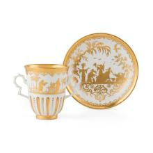 MEISSEN BÖTTGER 'HAUSMALER' PORCELAIN CHOCOLATE CUP AND SAUCER CIRCA 1720, LIKELY DECORATED IN AUGSBURG cup 8cm high, saucer 13cm di.