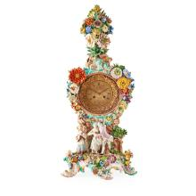 LARGE MEISSEN FLOWER ENCRUSTED PORCELAIN MANTEL CLOCK 19TH CENTURY 70cm high