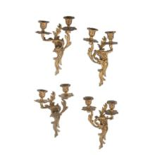 SET OF FOUR LOUIS XV STYLE GILT BRASS WALL SCONCES EARLY 20TH CENTURY 30cm high approx.