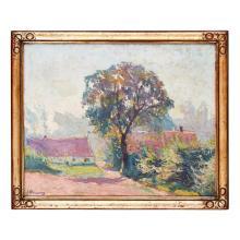 20TH CENTURY BRITISH SCHOOL LAVENDER LANDSCAPE WITH TREE 38.5cm x 48.5cm (15.25in x 19in)
