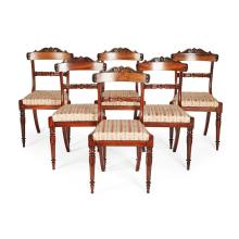 SET OF SIX REGENCY GONCALO ALVES DINING CHAIRS, IN THE MANNER OF GILLOWS OF LANCASTER EARLY 19TH CENTURY 46cm wide, 88cm high, 40cm...