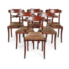 SET OF SIX REGENCY MAHOGANY DINING CHAIRS EARLY 19TH CENTURY 47cm wide, 83cm high, 44cm deep