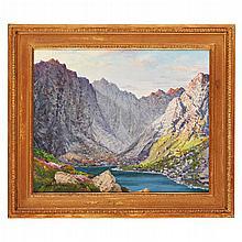 § GEORGE MELVIN RENNIE (SCOTTISH 1874-1953) LOCH CORUISK, SKYE 39cm x 47.5cm (15.5in x 18.75in)