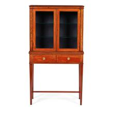 VICTORIAN SHERATON REVIVAL MAHOGANY AND SATINWOOD BANDED DISPLAY CABINET LATE 19TH CENTURY 78cm wide, 142cm high, 38cm deep