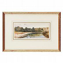 SIR WILLIAM FETTES DOUGLAS P.R.S.A. (SCOTTISH 1822-1891) RIVER LANDSCAPE 9.5cm x 23.5cm (3.75in x 9.25in)