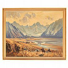 JOHN SAMUEL LOXTON (AUSTRALIAN 1903-1969) SHEEP MUSTERERS, TASMAN VALLEY 60cm x 75cm (23.5in x 29.5in)