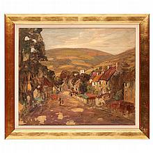 JAMES DICK PEDDIE (SCOTTISH FL. 1880-1918) THE ROAD THROUGH THE VILLAGE 62.5cm x 75.5cm (24.75in x 29.5in)