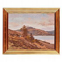 § GEORGE HOUSTON R.S.A., R.S.W., R.I. (SCOTTISH 1869-1947) ARROCHAR 71cm x 91cm (28in x 36in)