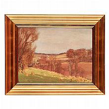 § GEORGE HOUSTON R.S.A., R.S.W., R.I. (SCOTTISH 1869-1947) DALRY LANDSCAPE IN WINTER 44.5cm x 60cm (17.5in x 23.5in)