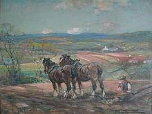 GEORGE SMITH R.S.A. (SCOTTISH 1870-1934) HORSES PLOUGHING 28cm x 39cm (11in x 15.5in)