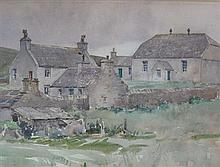 § STANLEY CURSITER C.B.E., R.S.A., R.S.W (SCOTTISH 1887-1976) THE CHURCH AND MANSE IN WESTRAY, ORKNEY 22cm x 30cm (8.5in x 12in)