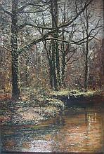 § HUGH WILKINSON (1849-1948) A STREAM IN THE WOODS 60cm x 40cm (23.5in x 16in)