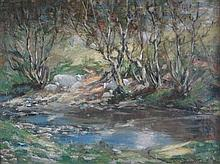 GEORGE SMITH R.S.A. (SCOTTISH 1870-1934) SHEEP BY THE RIVER 28cm x 39cm (11in x 15.5in)