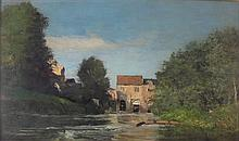EDMOND CONSTANT MATHON (FRENCH 1825-1891) SUMMER RIVER SCENE 32cm x 58cm (12.5in x 22.75in)