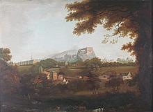 19TH CENTURY PROVINCIAL SCOTTISH SCHOOL VIEW OF EDINBURGH CASTLE 38cm x 53cm (15in x 21in)