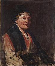 20TH CENTURY BRITISH SCHOOL PORTRAIT OF A WOMAN IN A BLACK CAP 77cm x 63cm (30in x 24.75in)
