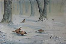 § VINCENT BALFOUR-BROWNE (1880-1963) PHEASANTS IN A SNOWY WOODLAND LANDSCAPE 34cm x 52cm (13.5in x 20.5in)