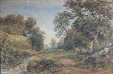 DAVID COX JNR (BRITISH 1808-1885) PATH BESIDE THE STREAM 34cm x 52cm (13.5in x 20.5in)