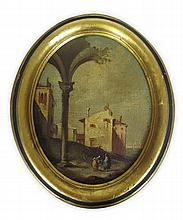 FOLLOWER OF FRANSCISCO GUARDI (18TH CENTURY ITALIAN SCHOOL) AN ITALIAN CAPRICCIO 29cm x 23cm (11.5in x 9in) and another by the same...