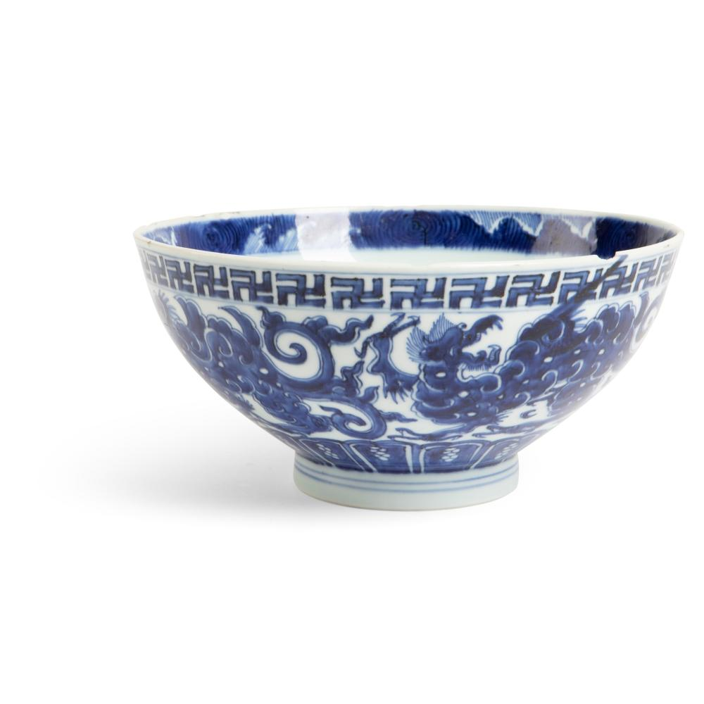 BLUE AND WHITE 'KUI DRAGON' BOWL QING DYNASTY, YONGZHENG MARK AND OF THE PERIOD