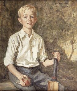 MURRAY URQUHART PORTRAIT OF SEBASTIAN E.F. SNOW AS A YOUNG CRICKETER 60cm x 50cm