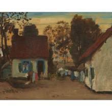 THOMAS AUSTEN BROWN A.R.S.A., R.S.W., R.I (SCOTTISH 1857-1924) COTTAGES, CAMIERS