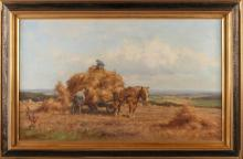 Jan Holtrop. 1917 - 1995.Boeren by horse and carriage corn harvesting. Oil on linen. Size: 51x 81 cm