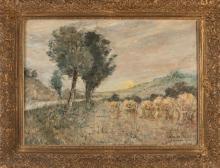 Jan Wingen. 1874 - 1956. Landscape with sheaves of corn. Oil on linen. Size: 60 x H, B 80 cm. In goo