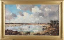 Jo Schrijnder, Polder view with ducks flying up