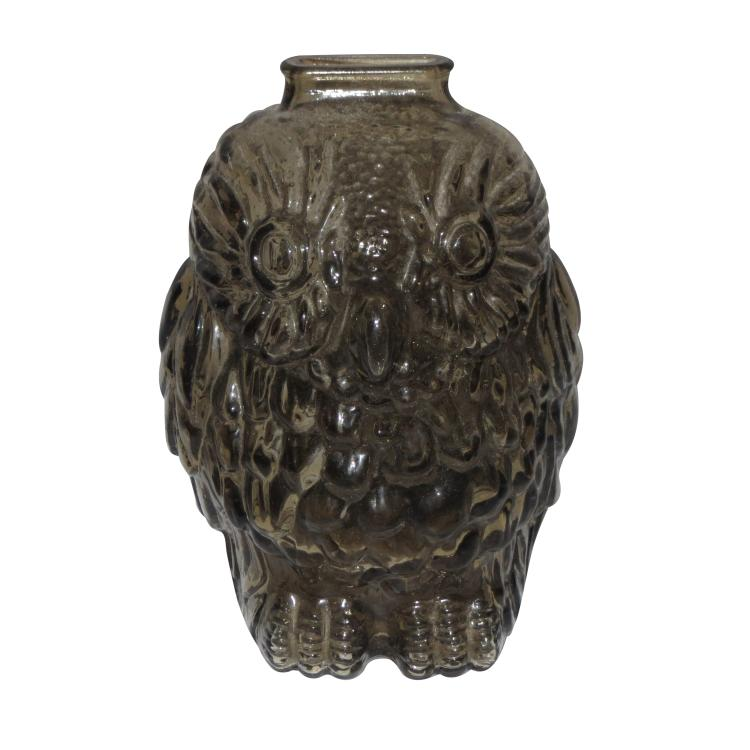 1950 39 s wise old owl glass amber piggy bank - Wise old owl glass bank ...