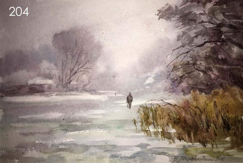 sold price winter forest watercolor painting viktor mikhailichenko september 1 0119 12 00 pm eest winter forest watercolor painting viktor mikhailichenko