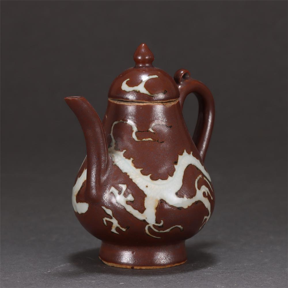 A Chinese Brown Glaze White Dragon Porcelain Pot