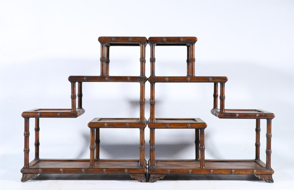 PAIR OF CHINESE CARVED HARDWOOD SHELVES