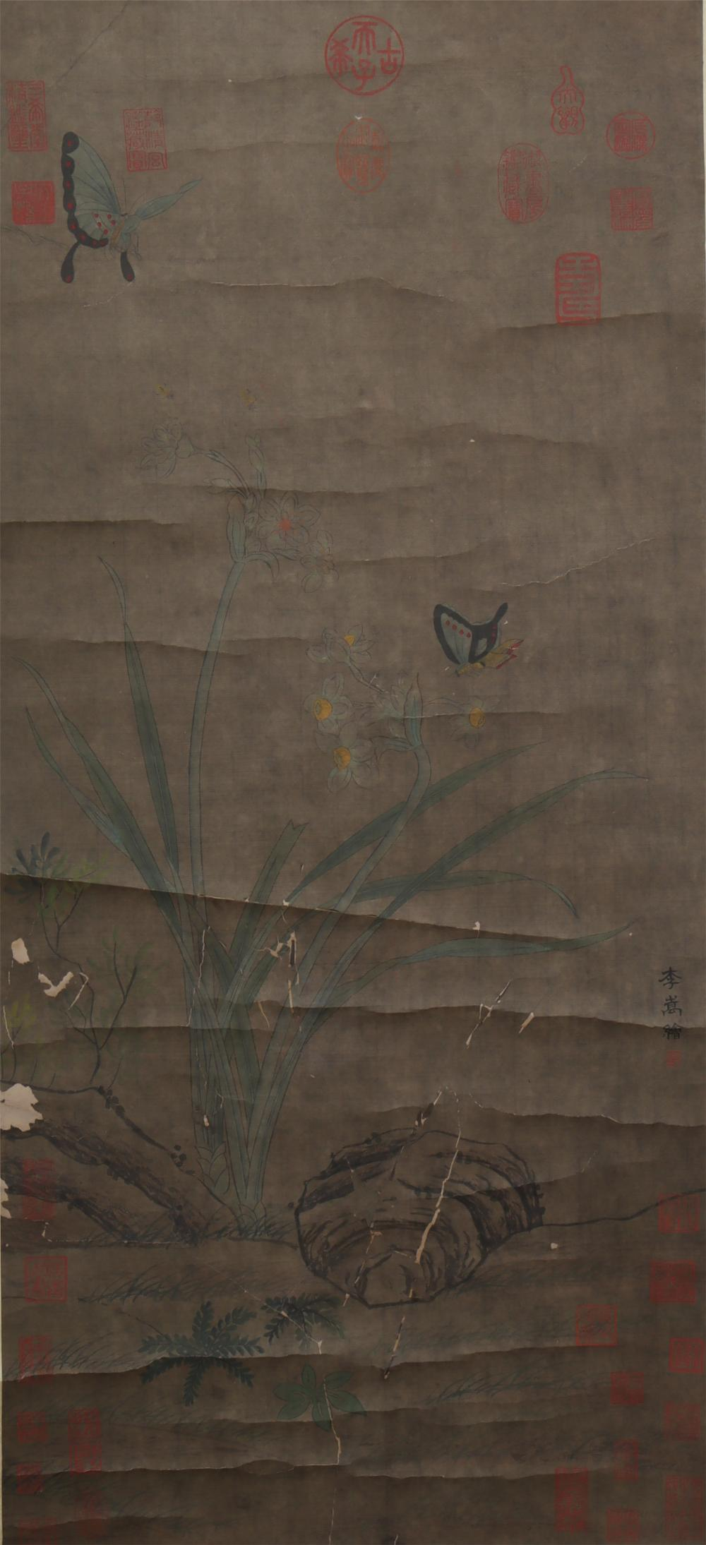 A CHINESE PAINTING OF FLOWERS AND BUTTERFLIES