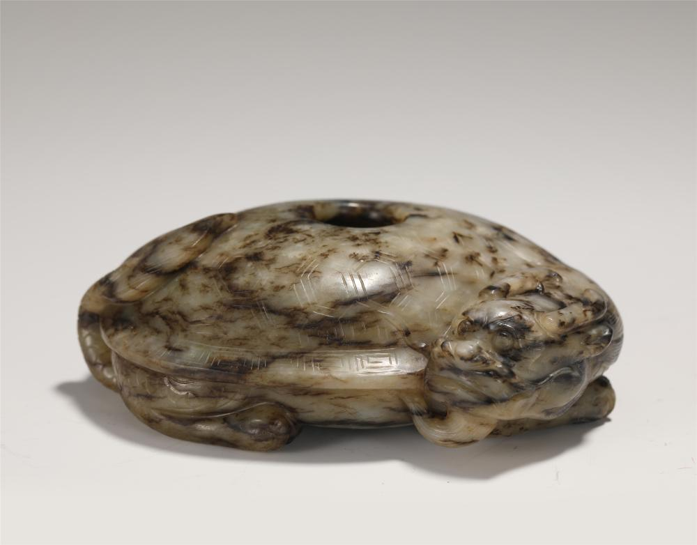 A CHINESE JADE CARVED TURTLE-DRAGON