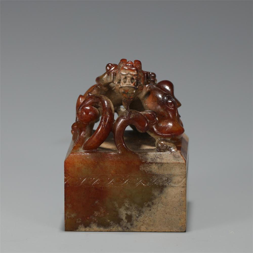 A CHINESE ARCHAISTIC STYLE JADE BEAST SEAL