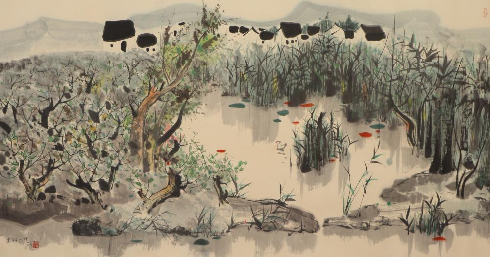 A CHINESE LANDSCAPE PAINTING