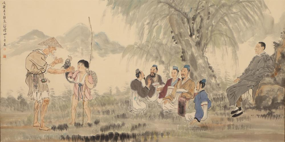 A CHINESE PAINTING DEPICTING FIGURES STORY