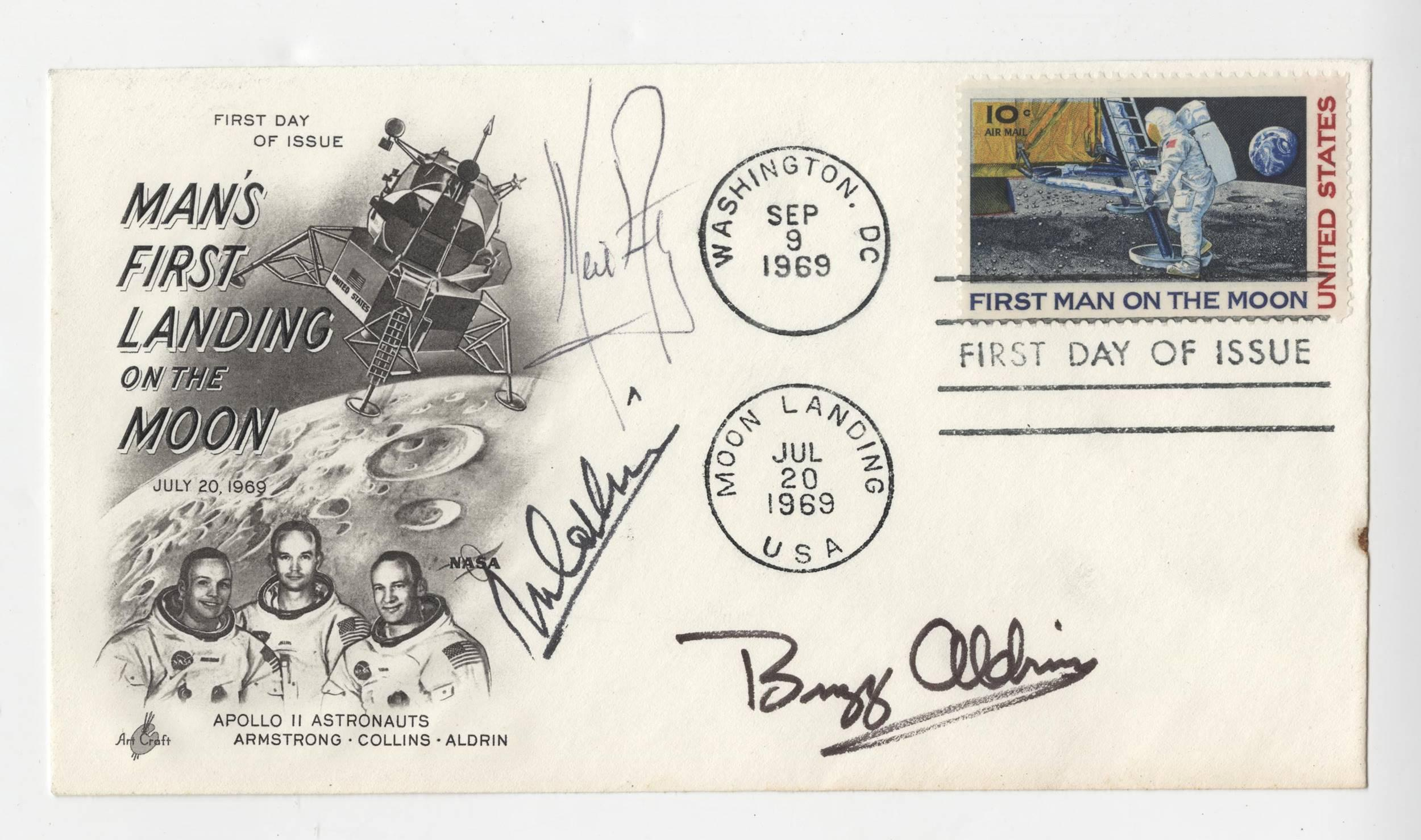 Apollo 11 Crew Signed FDC, Armstrong, Aldrin and Collins