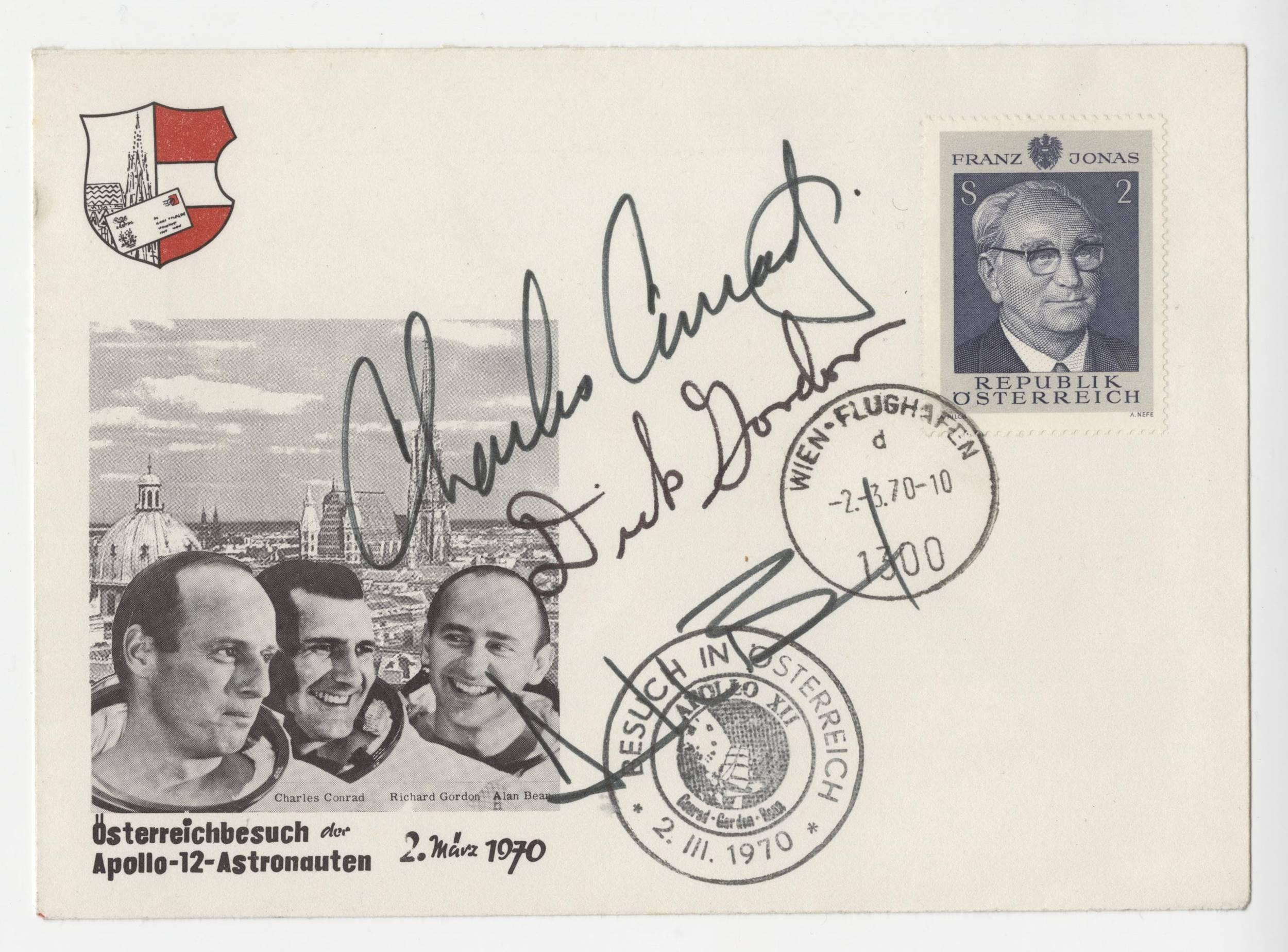 Apollo 12 Crew Signed Gorgeous Austrian Cover, Conrad, Gordon and Bean