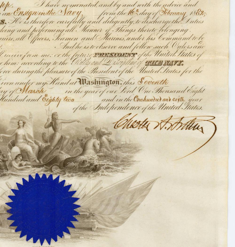Chester Arthur Naval Commission and Cabinet Photo - the Finest We Have Seen