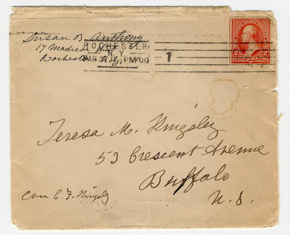 Susan B. Anthony Signed & Inscribed Envelope the Same Year the 80-Year-Old Crusader Resigned her Presidency of the National American Woman Suffrage Association