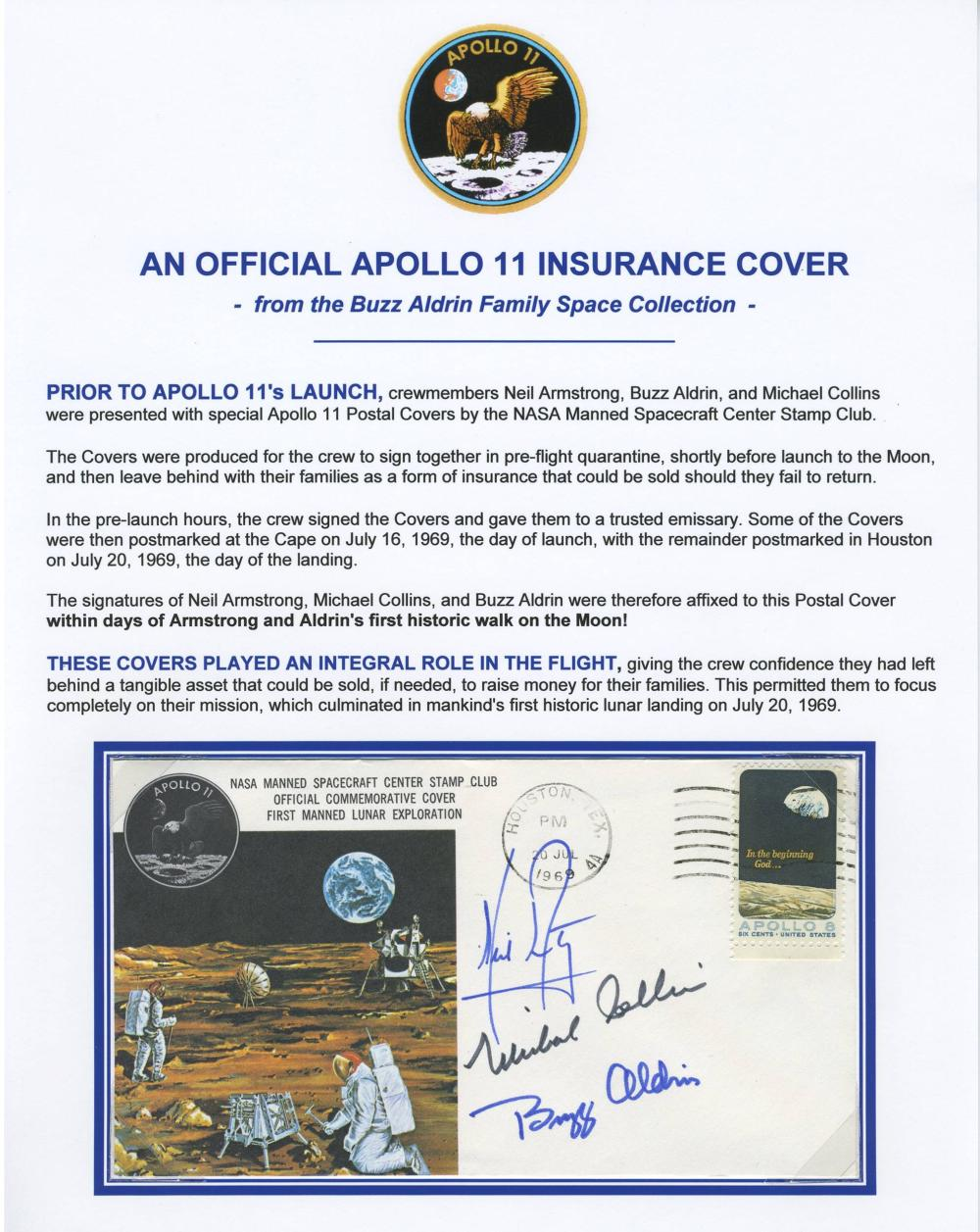 Apollo XI Insurance Cover Signed by Armstrong, Aldrin & Collins, From Buzz Aldrin Family Space Collection
