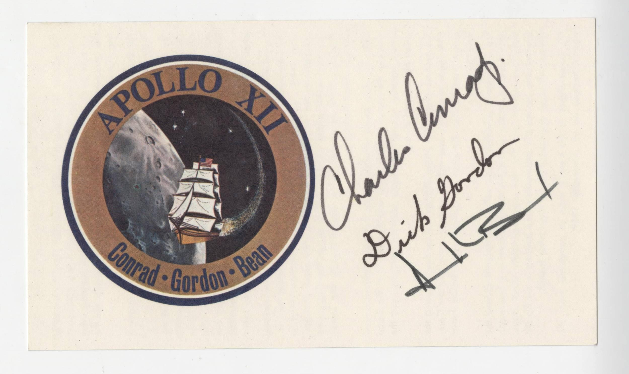 Apollo 12 Crew Signed Emblem Card, Conrad, Gordon and Bean