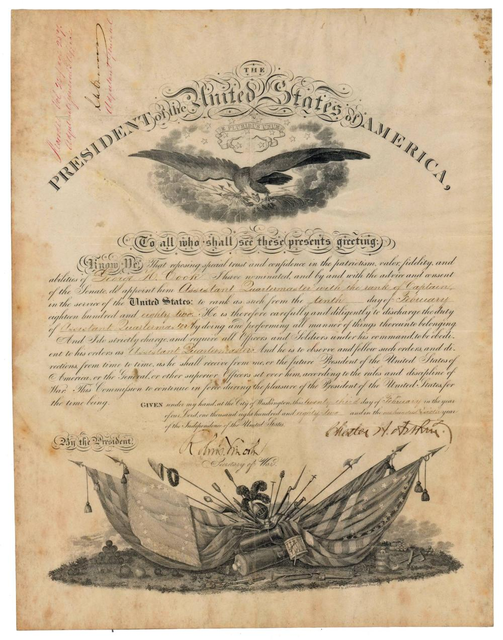 Chester A Arthur Signed Military Commission, Countersigned by Abraham Lincoln's Son, Robert