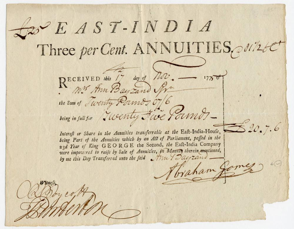British East India Company Stock Purchased by Female Investor in 1775