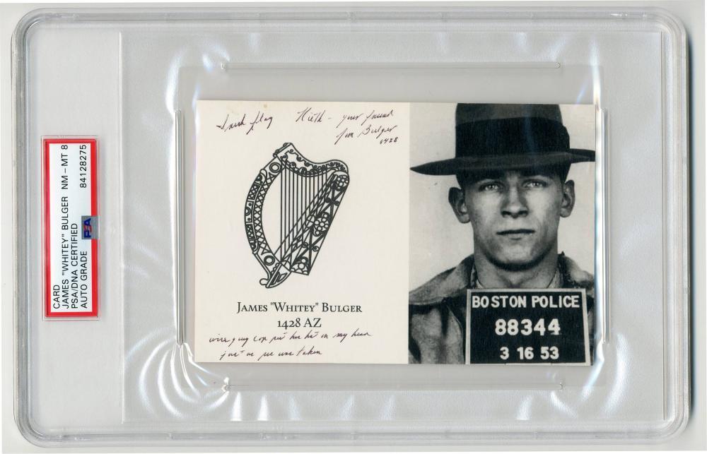 """James """"Whitey"""" Bulger Best Signed Item We've Ever Seen! PSA/DNA Slabbed & Graded NM-MT 8"""