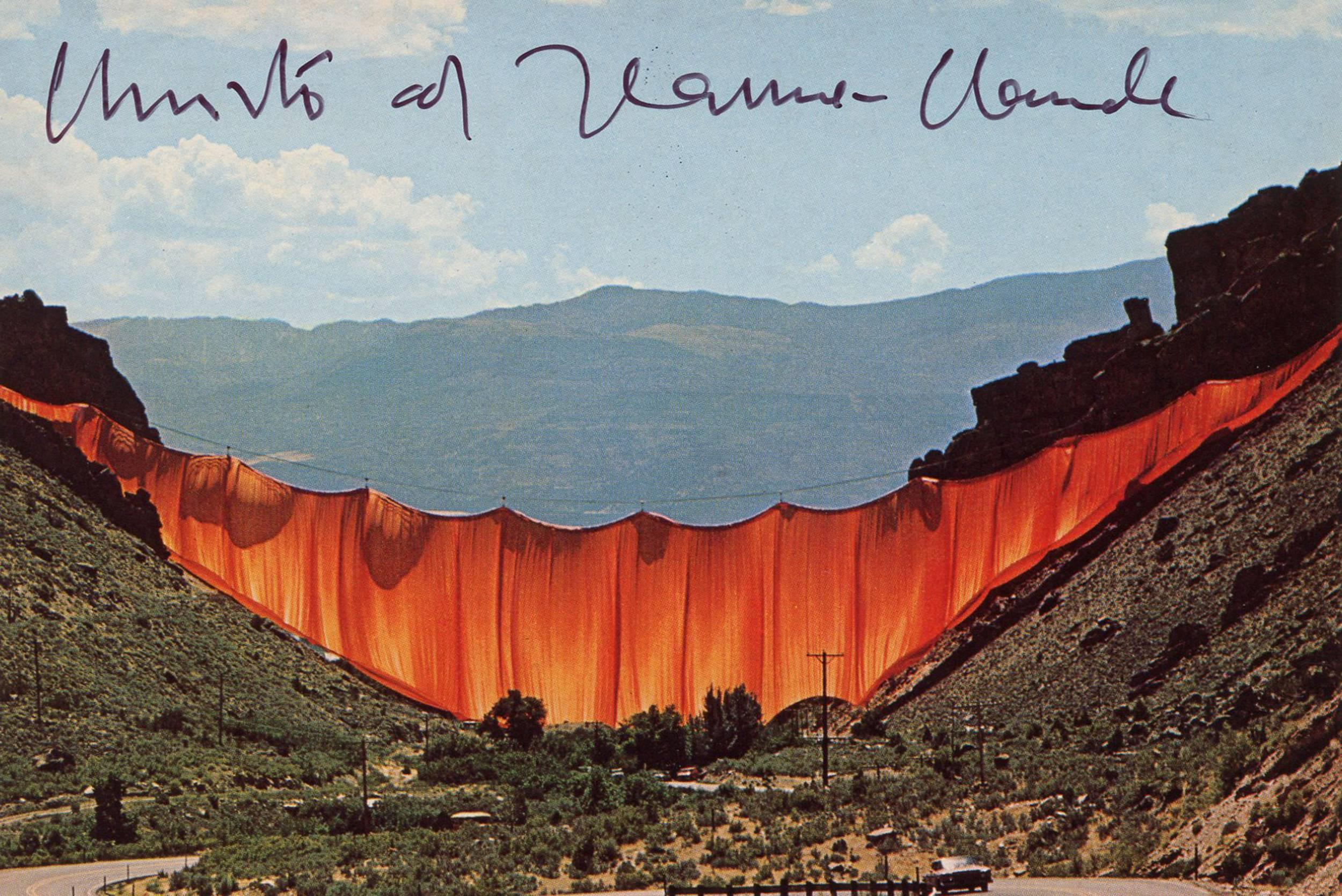 "Christo & Jeanne-Claude Signed ""Valley Curtain"" Postcard"