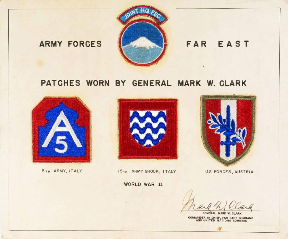 General Mark Clark, WWII Patch Display