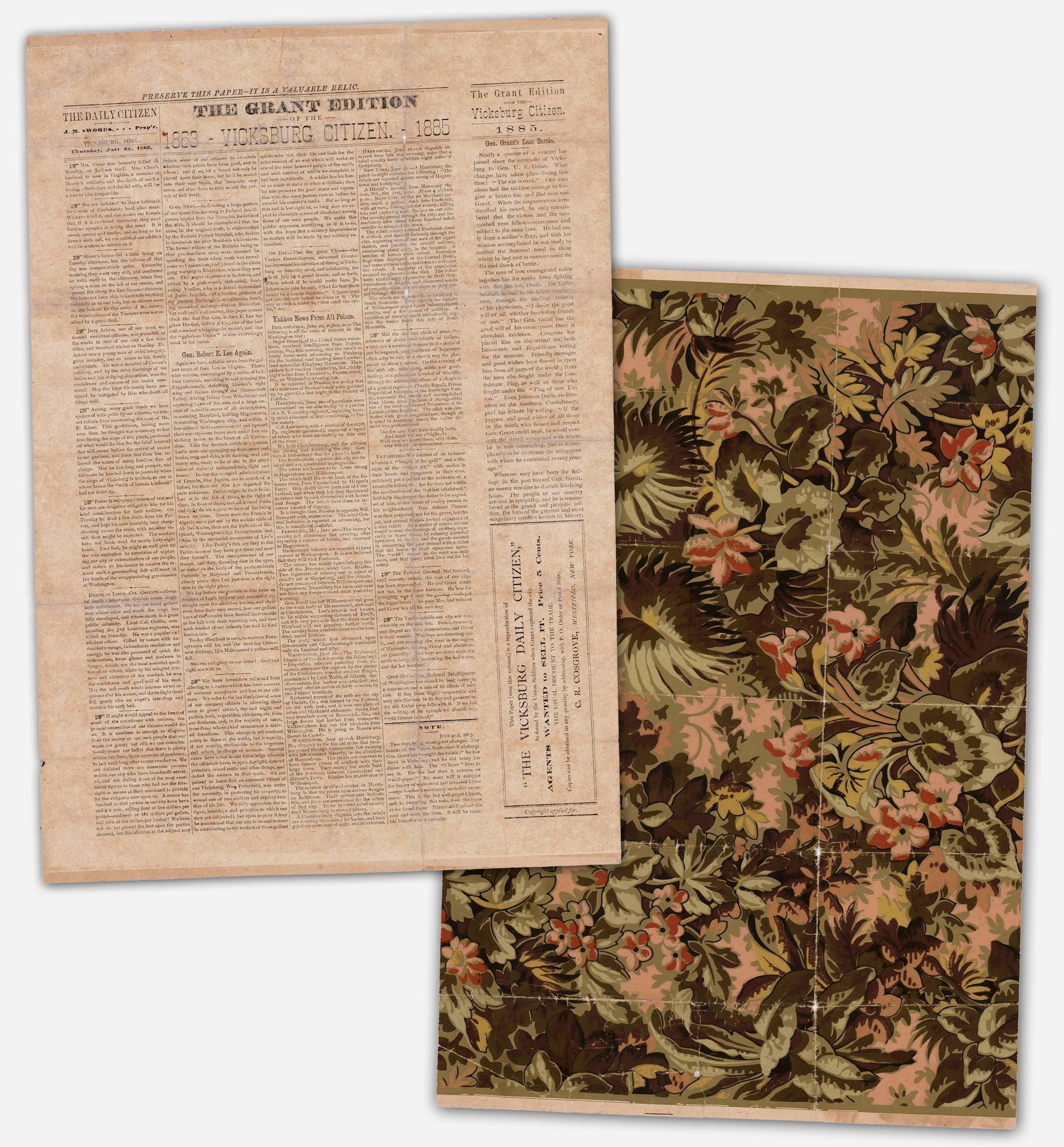 "Grant Edition of ""Vicksburg Daily Citizen"" Wallpaper Newspaper, 1885"